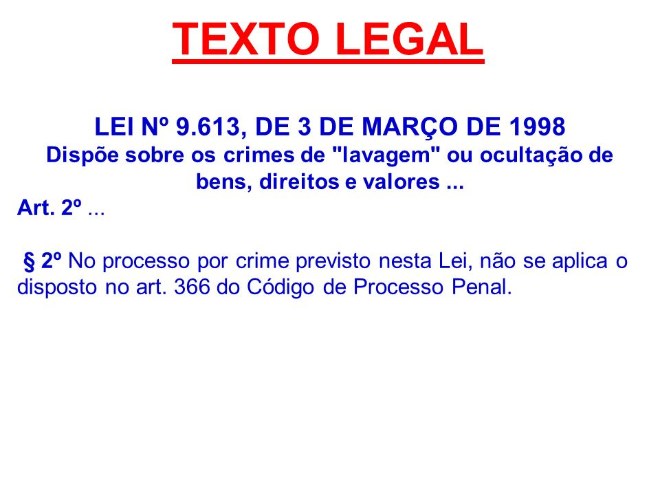 TEXTO LEGAL LEI Nº 9.613, DE 3 DE MARÇO DE 1998