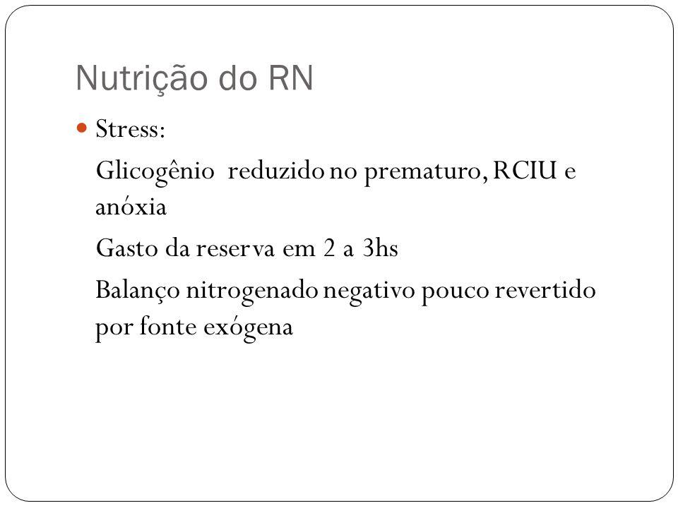 Nutrição do RN Stress: Glicogênio reduzido no prematuro, RCIU e anóxia