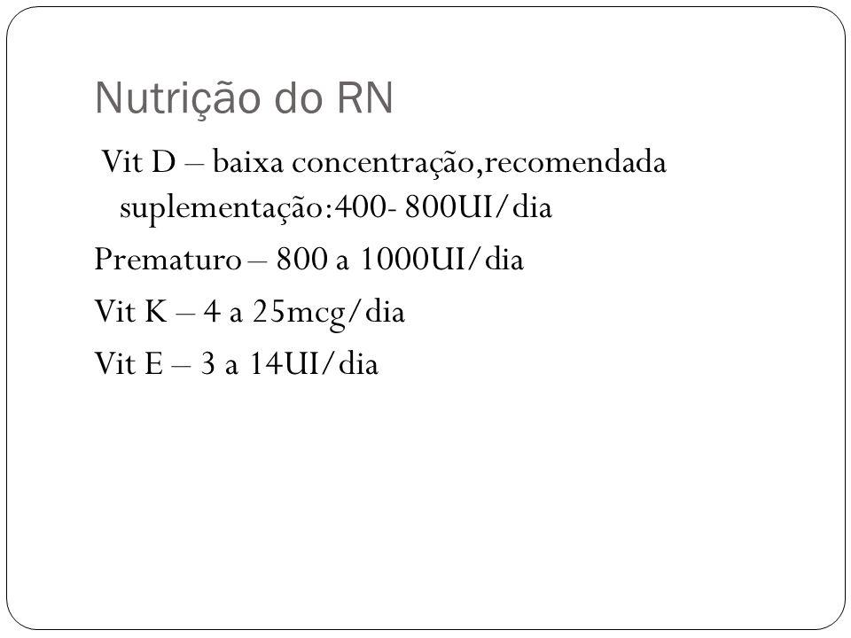 Nutrição do RN Prematuro – 800 a 1000UI/dia Vit K – 4 a 25mcg/dia