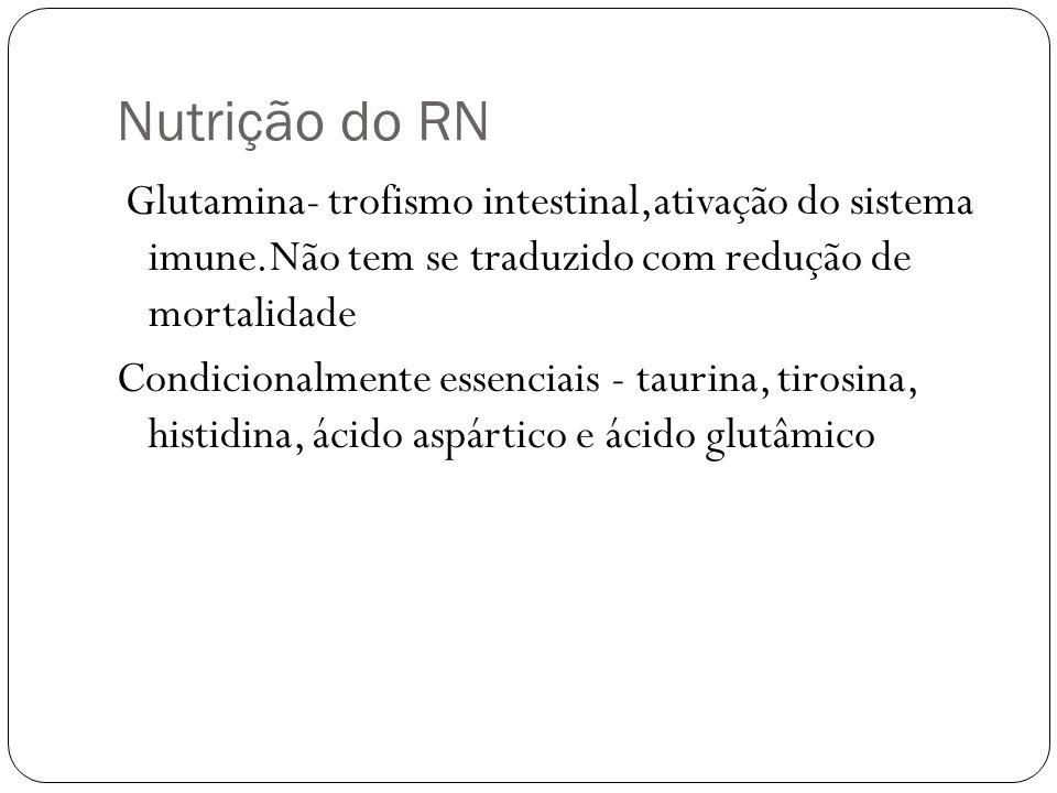 Nutrição do RN Glutamina- trofismo intestinal,ativação do sistema imune.Não tem se traduzido com redução de mortalidade.