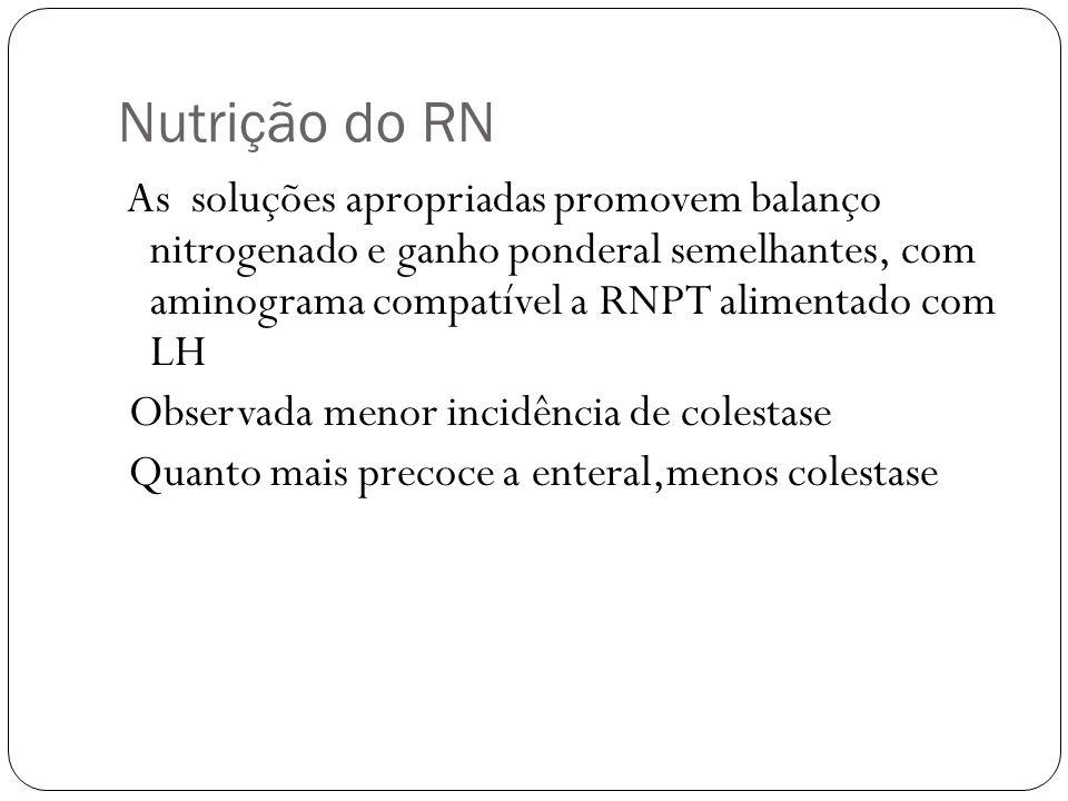 Nutrição do RN Observada menor incidência de colestase