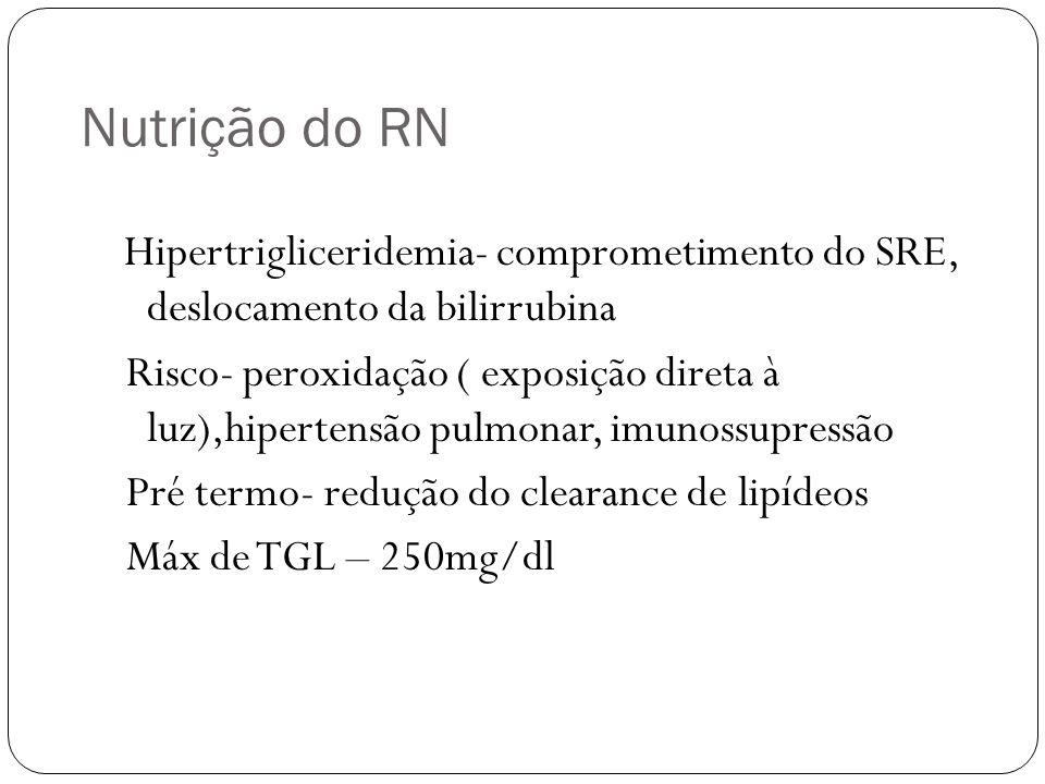 Nutrição do RN Hipertrigliceridemia- comprometimento do SRE, deslocamento da bilirrubina.