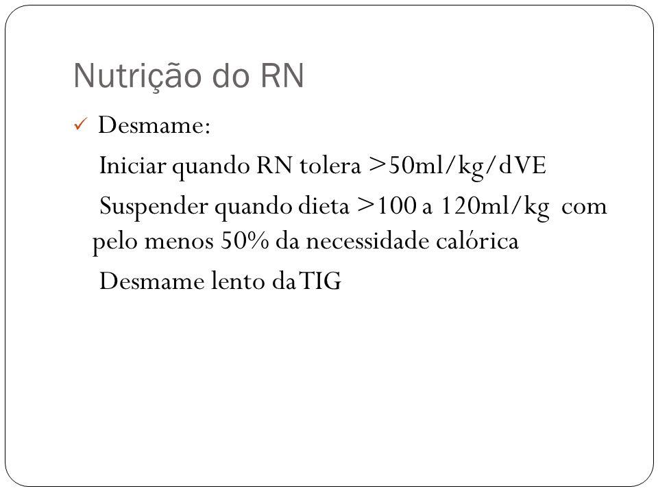 Nutrição do RN Iniciar quando RN tolera >50ml/kg/d VE
