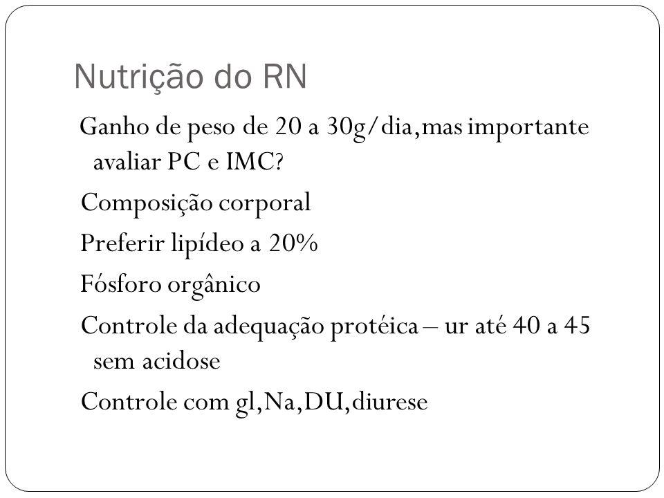 Nutrição do RN Composição corporal Preferir lipídeo a 20%