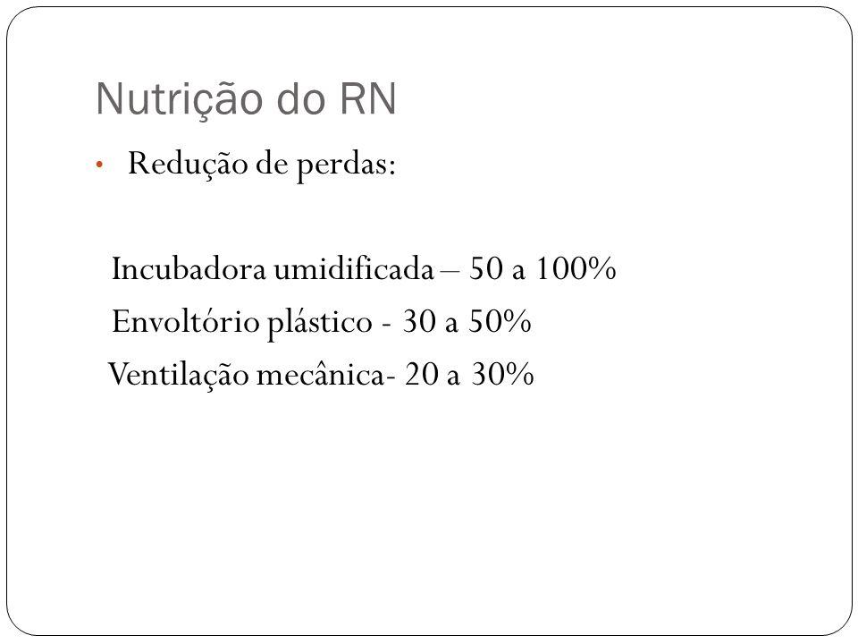 Nutrição do RN Incubadora umidificada – 50 a 100%