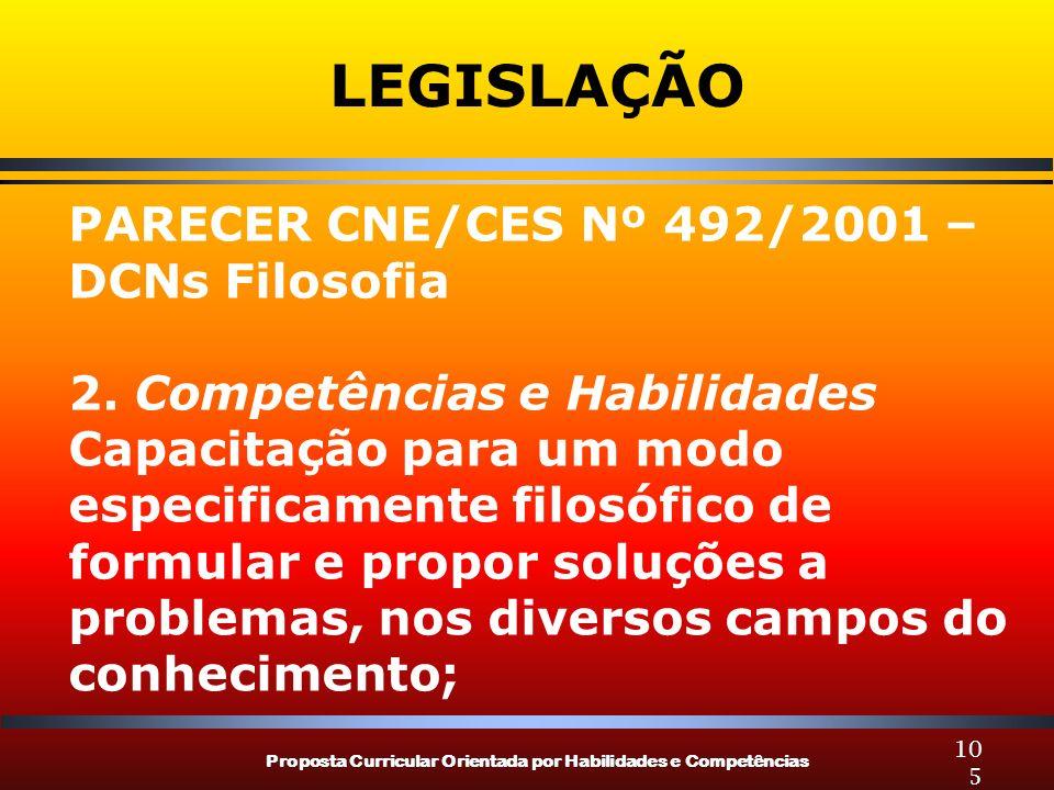 LEGISLAÇÃO PARECER CNE/CES Nº 492/2001 – DCNs Filosofia