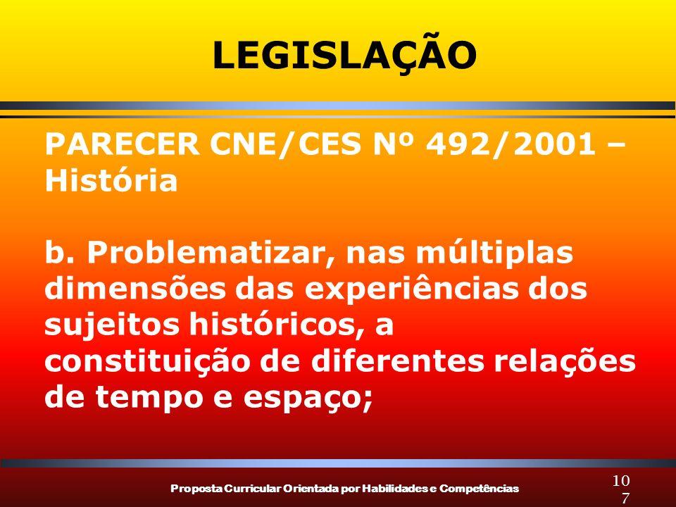 LEGISLAÇÃO PARECER CNE/CES Nº 492/2001 – História