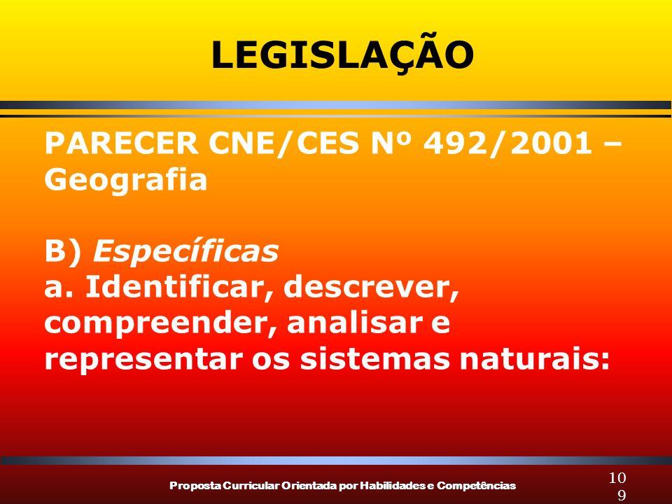 LEGISLAÇÃO PARECER CNE/CES Nº 492/2001 – Geografia B) Específicas