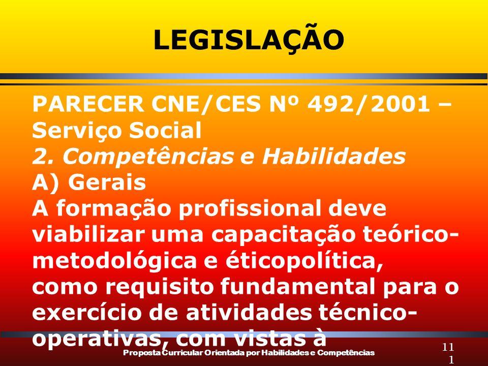 LEGISLAÇÃO PARECER CNE/CES Nº 492/2001 – Serviço Social