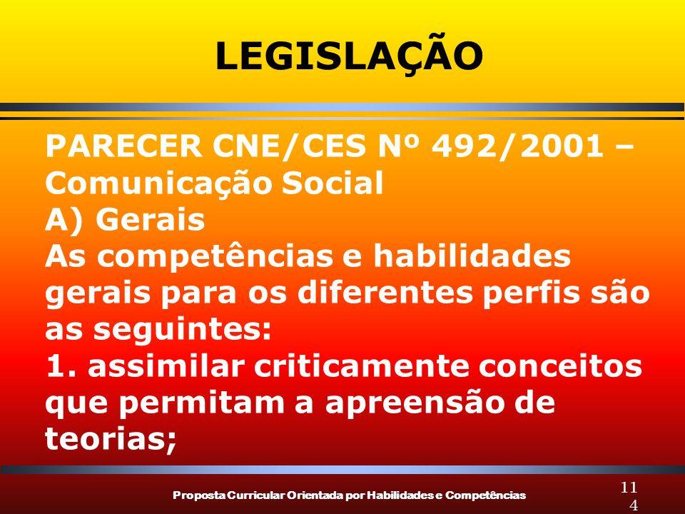 LEGISLAÇÃO PARECER CNE/CES Nº 492/2001 – Comunicação Social A) Gerais