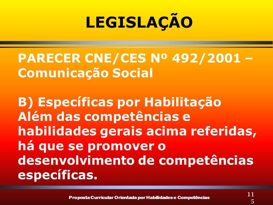 LEGISLAÇÃO PARECER CNE/CES Nº 492/2001 – Comunicação Social