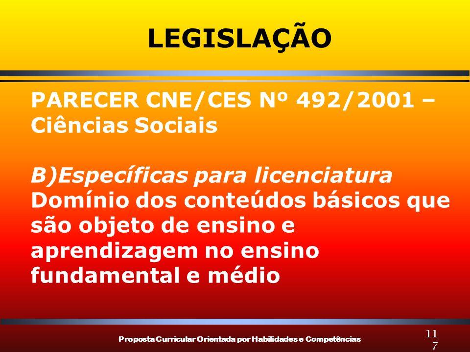 LEGISLAÇÃO PARECER CNE/CES Nº 492/2001 – Ciências Sociais