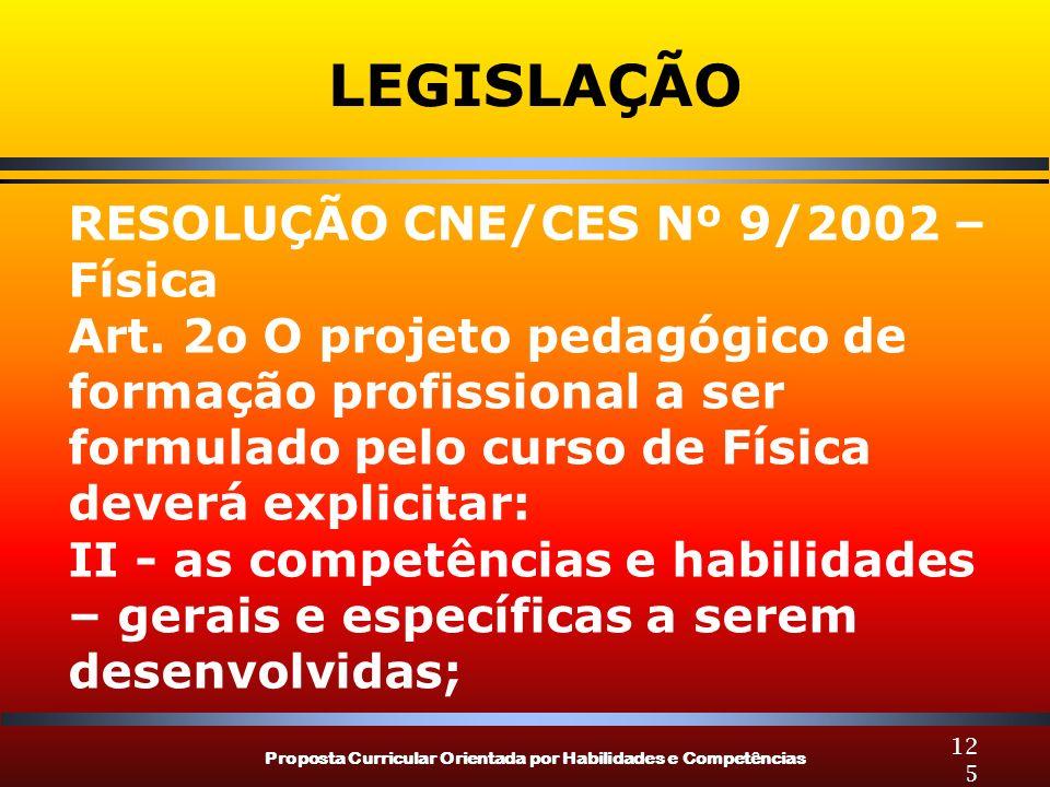 LEGISLAÇÃO RESOLUÇÃO CNE/CES Nº 9/2002 – Física