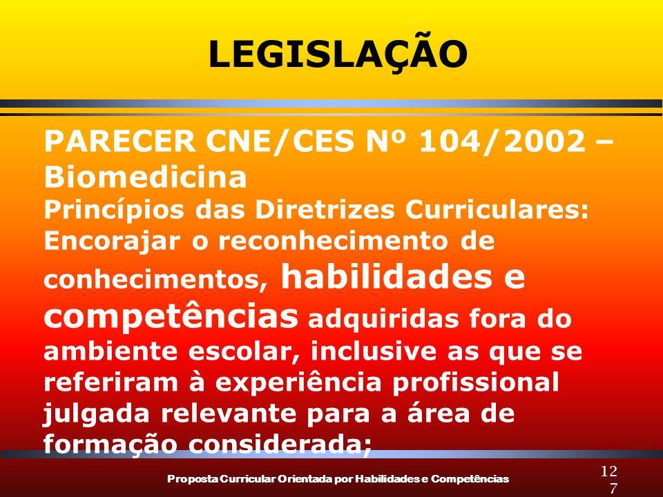 LEGISLAÇÃO PARECER CNE/CES Nº 104/2002 – Biomedicina