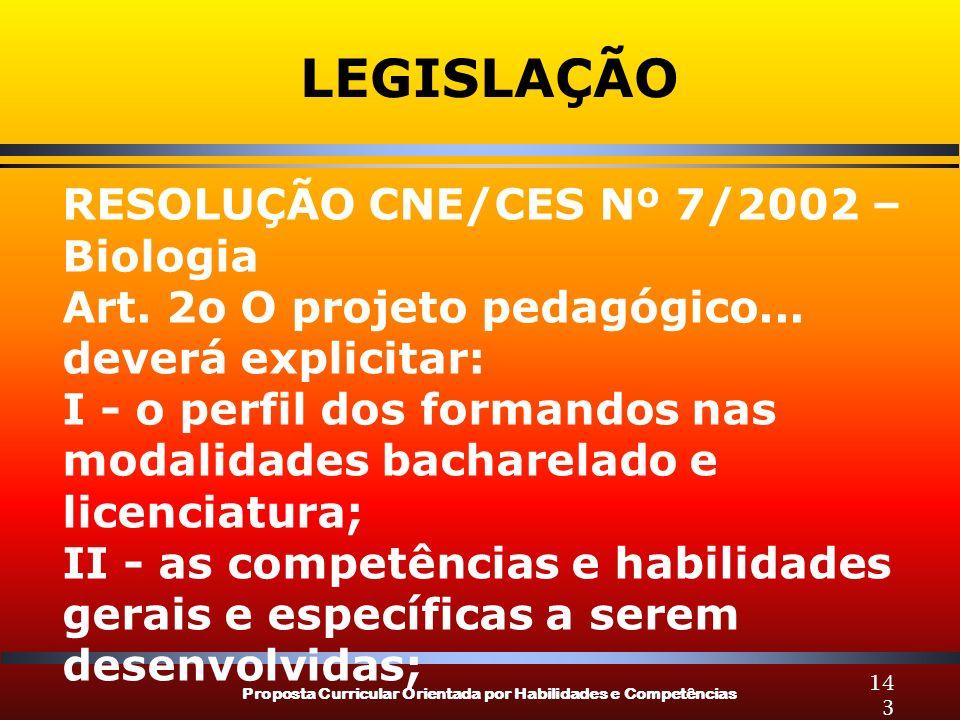 LEGISLAÇÃO RESOLUÇÃO CNE/CES Nº 7/2002 – Biologia