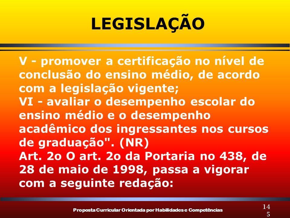 LEGISLAÇÃO V - promover a certificação no nível de conclusão do ensino médio, de acordo com a legislação vigente;