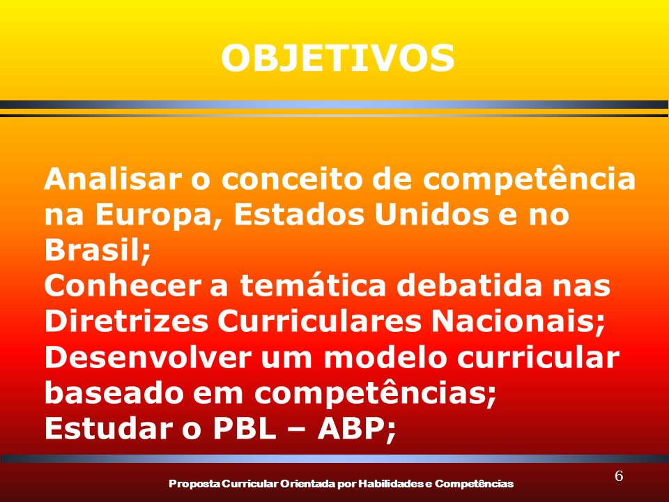 OBJETIVOS Analisar o conceito de competência na Europa, Estados Unidos e no Brasil;