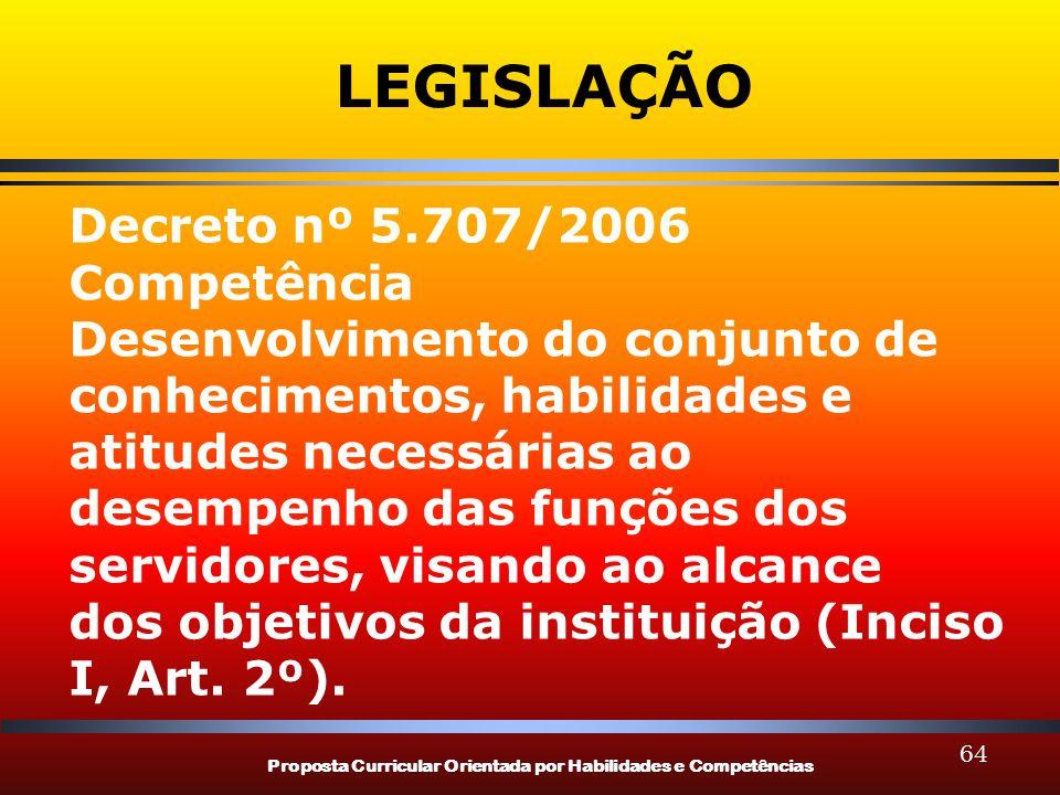 LEGISLAÇÃO Decreto nº 5.707/2006 Competência