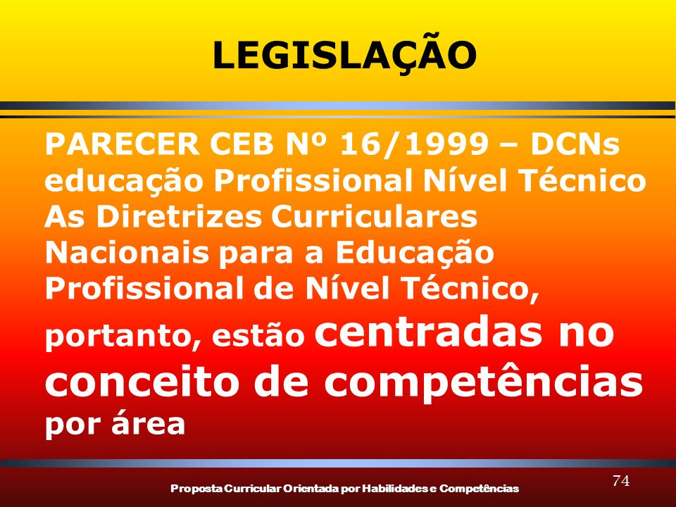 LEGISLAÇÃO PARECER CEB Nº 16/1999 – DCNs educação Profissional Nível Técnico. As Diretrizes Curriculares Nacionais para a Educação.