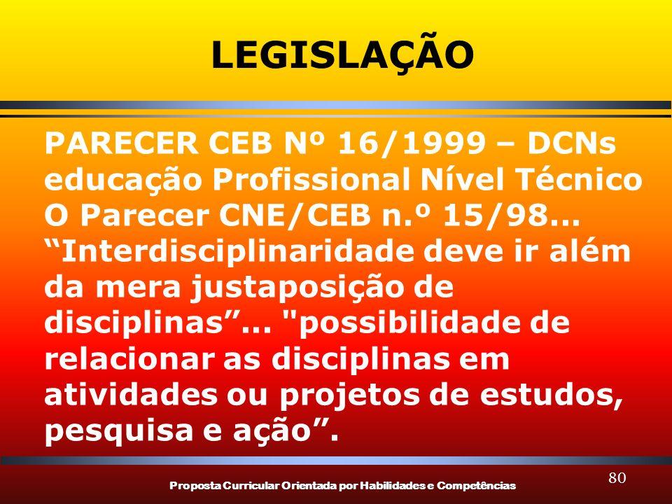 LEGISLAÇÃO PARECER CEB Nº 16/1999 – DCNs educação Profissional Nível Técnico. O Parecer CNE/CEB n.º 15/98...