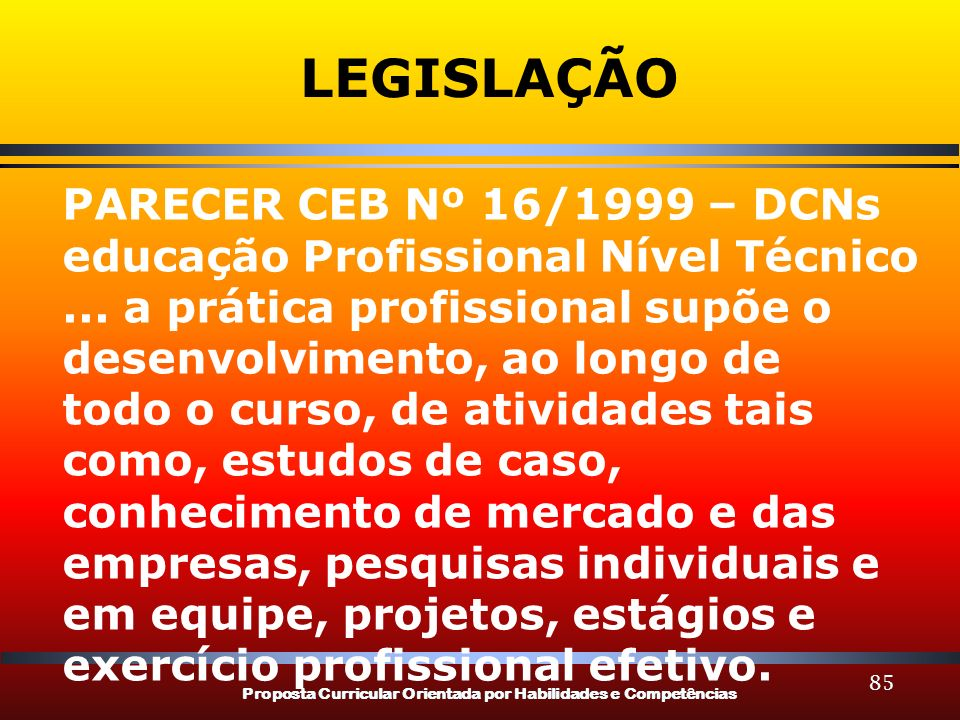 LEGISLAÇÃO PARECER CEB Nº 16/1999 – DCNs educação Profissional Nível Técnico. ... a prática profissional supõe o desenvolvimento, ao longo de.