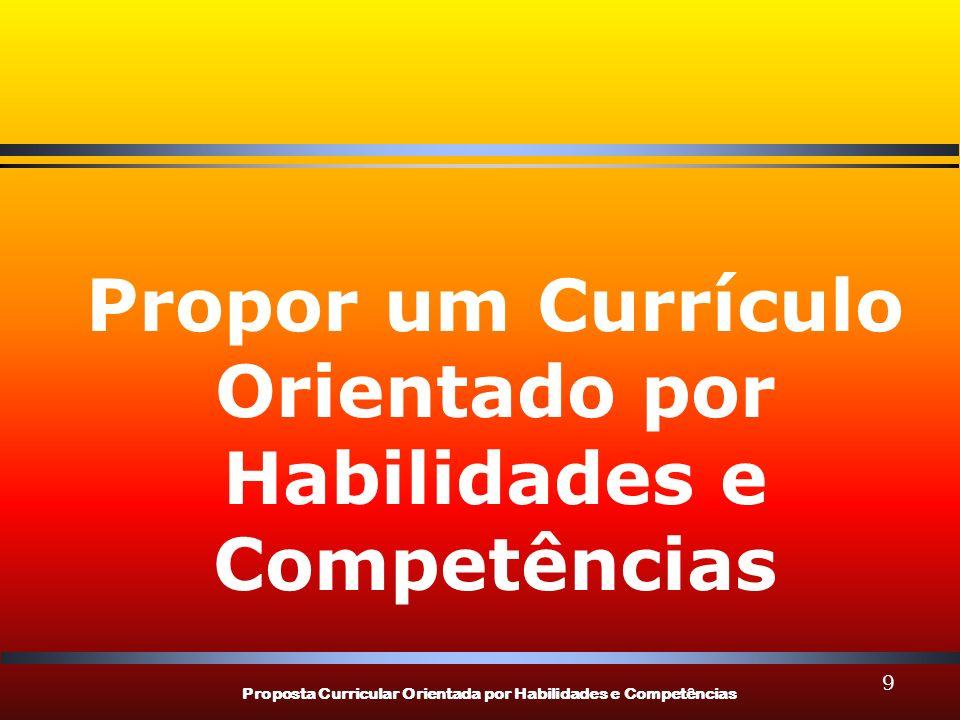 Propor um Currículo Orientado por Habilidades e Competências