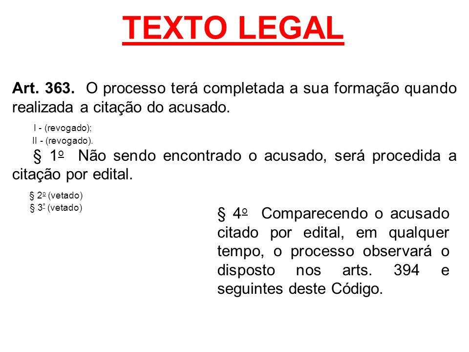 TEXTO LEGAL Art. 363. O processo terá completada a sua formação quando realizada a citação do acusado.