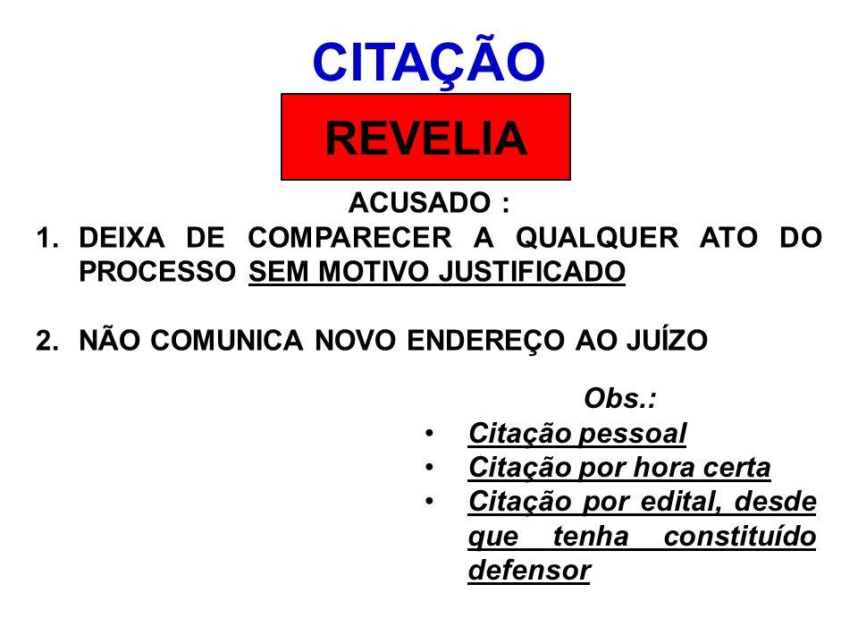CITAÇÃO REVELIA ACUSADO :