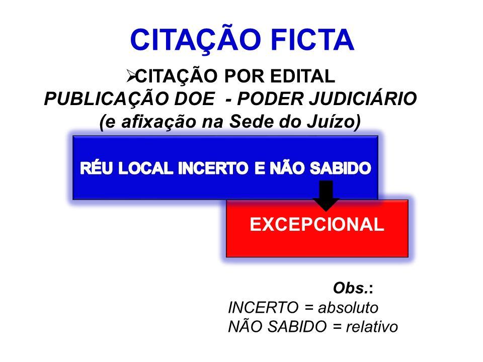 CITAÇÃO FICTA CITAÇÃO POR EDITAL PUBLICAÇÃO DOE - PODER JUDICIÁRIO