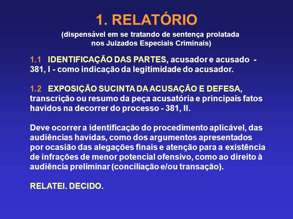 1. RELATÓRIO (dispensável em se tratando de sentença prolatada. nos Juizados Especiais Criminais)