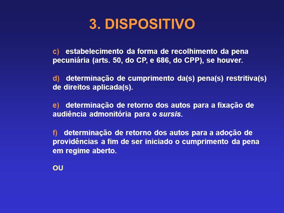3. DISPOSITIVO c) estabelecimento da forma de recolhimento da pena pecuniária (arts. 50, do CP, e 686, do CPP), se houver.