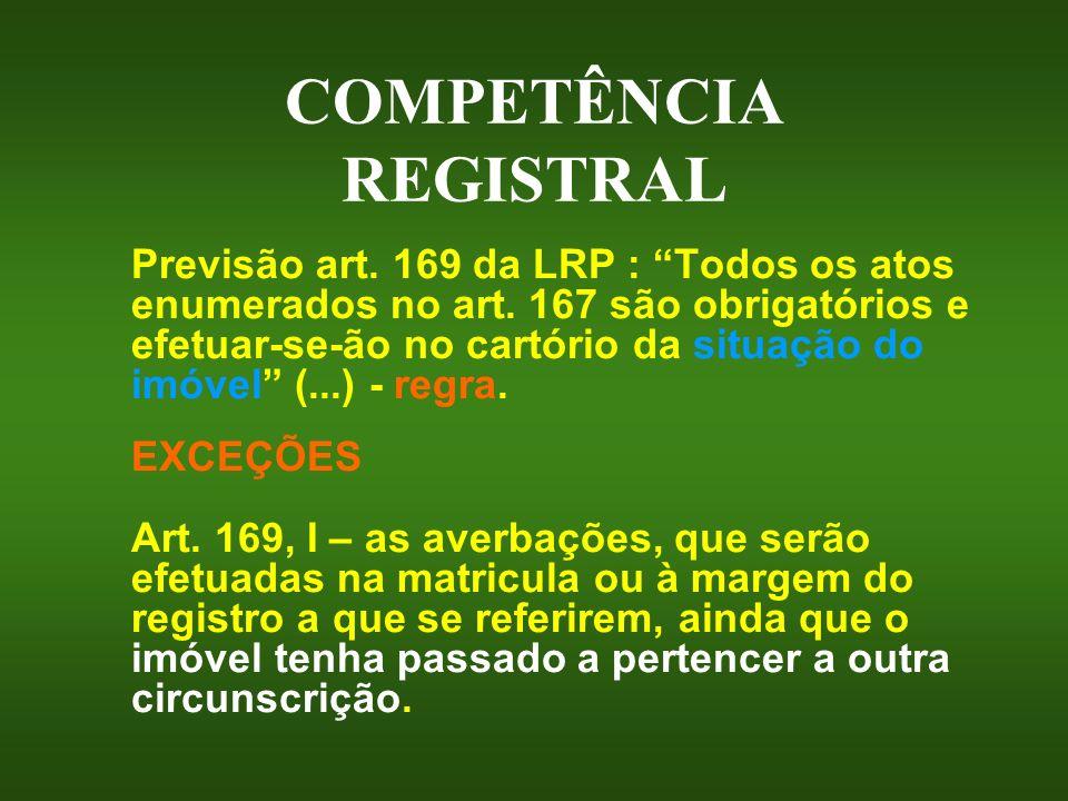COMPETÊNCIA REGISTRAL