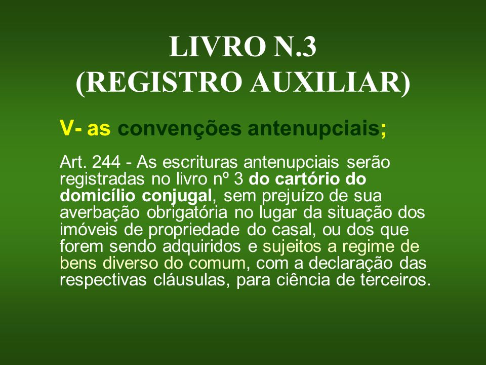 LIVRO N.3 (REGISTRO AUXILIAR)