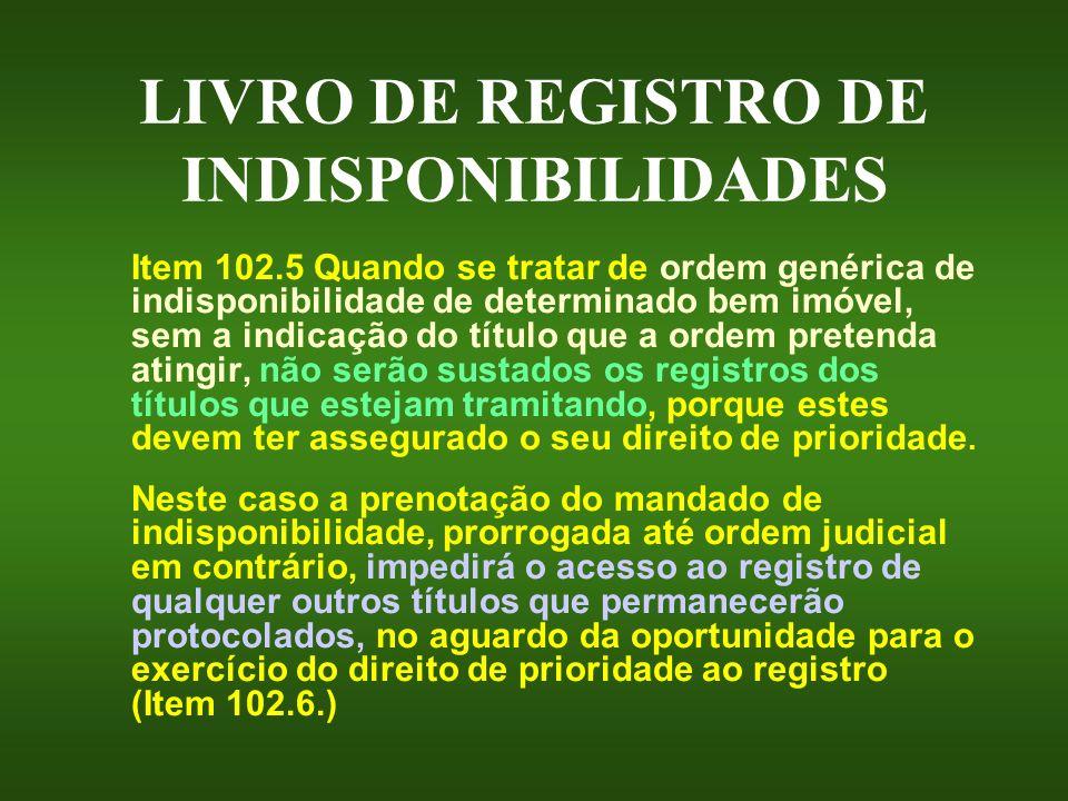 LIVRO DE REGISTRO DE INDISPONIBILIDADES