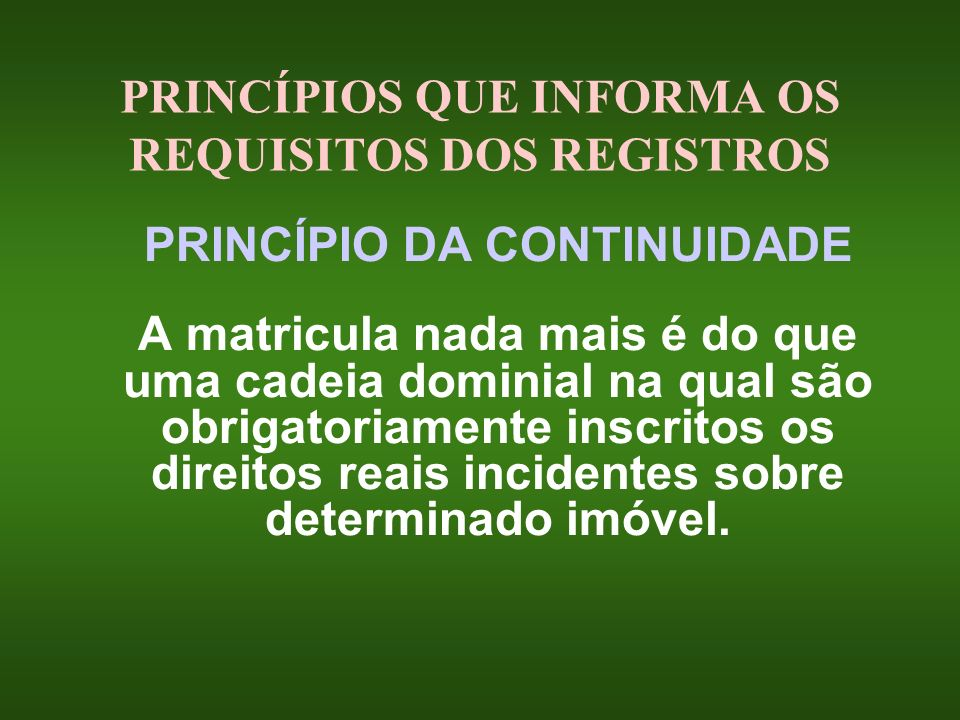 PRINCÍPIOS QUE INFORMA OS REQUISITOS DOS REGISTROS