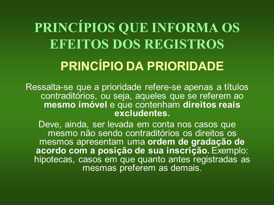 PRINCÍPIOS QUE INFORMA OS EFEITOS DOS REGISTROS