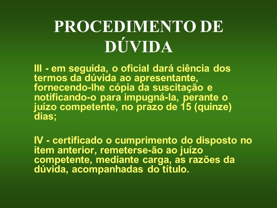 PROCEDIMENTO DE DÚVIDA