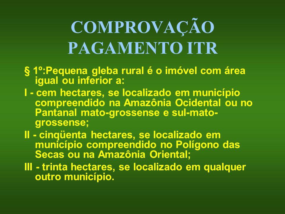 COMPROVAÇÃO PAGAMENTO ITR