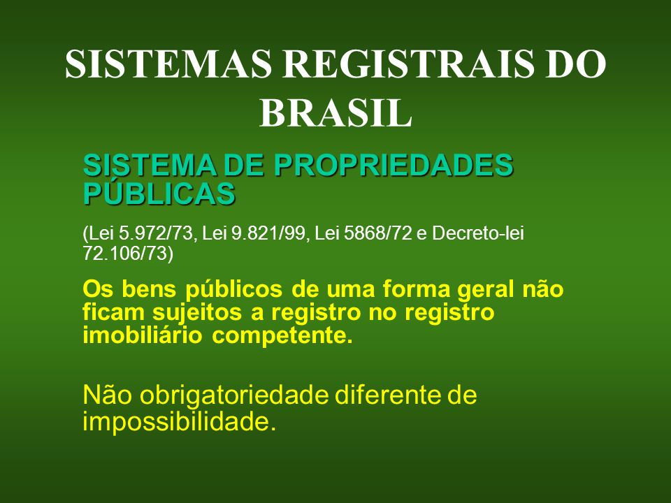 SISTEMAS REGISTRAIS DO BRASIL
