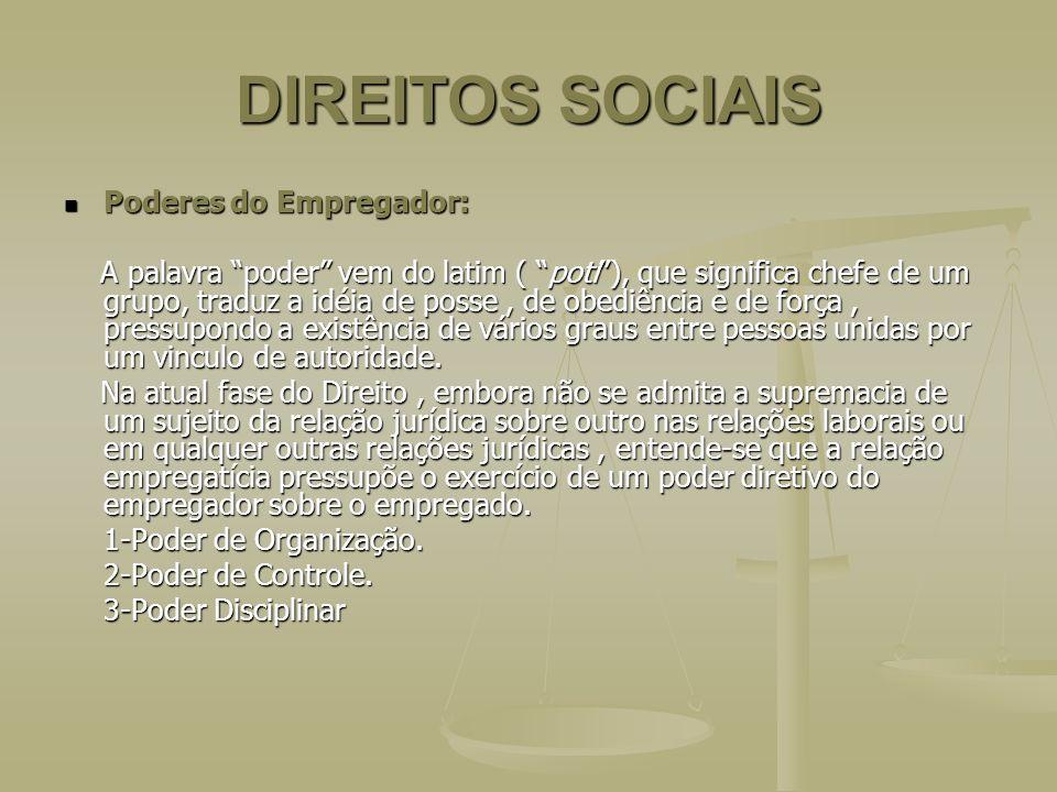 DIREITOS SOCIAIS Poderes do Empregador: