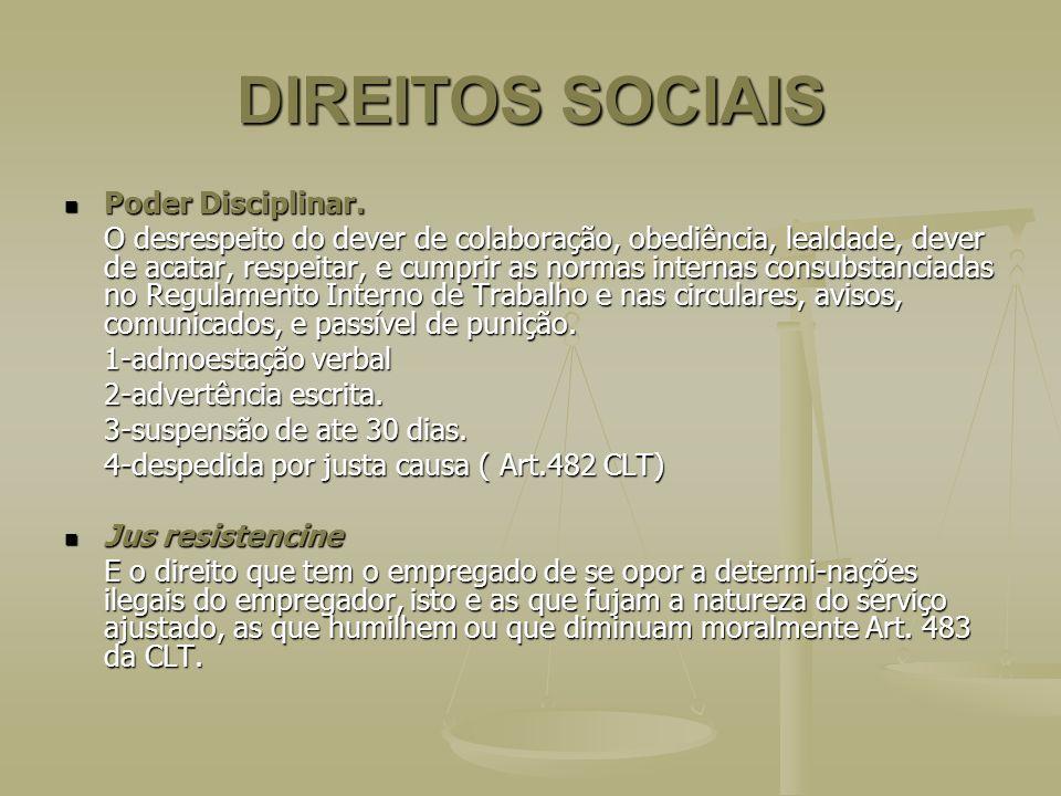 DIREITOS SOCIAIS Poder Disciplinar.