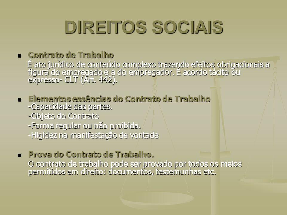 DIREITOS SOCIAIS Contrato de Trabalho