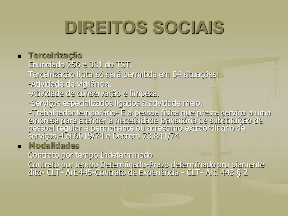 DIREITOS SOCIAIS Terceirização Enunciado 256 e 331 do TST.