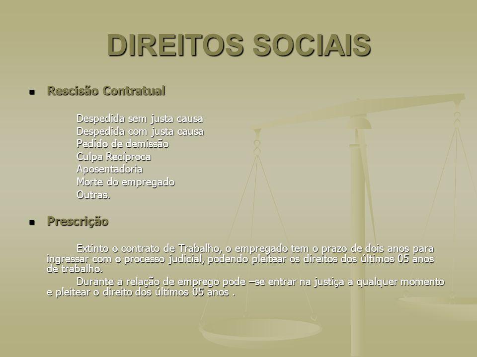 DIREITOS SOCIAIS Rescisão Contratual Prescrição