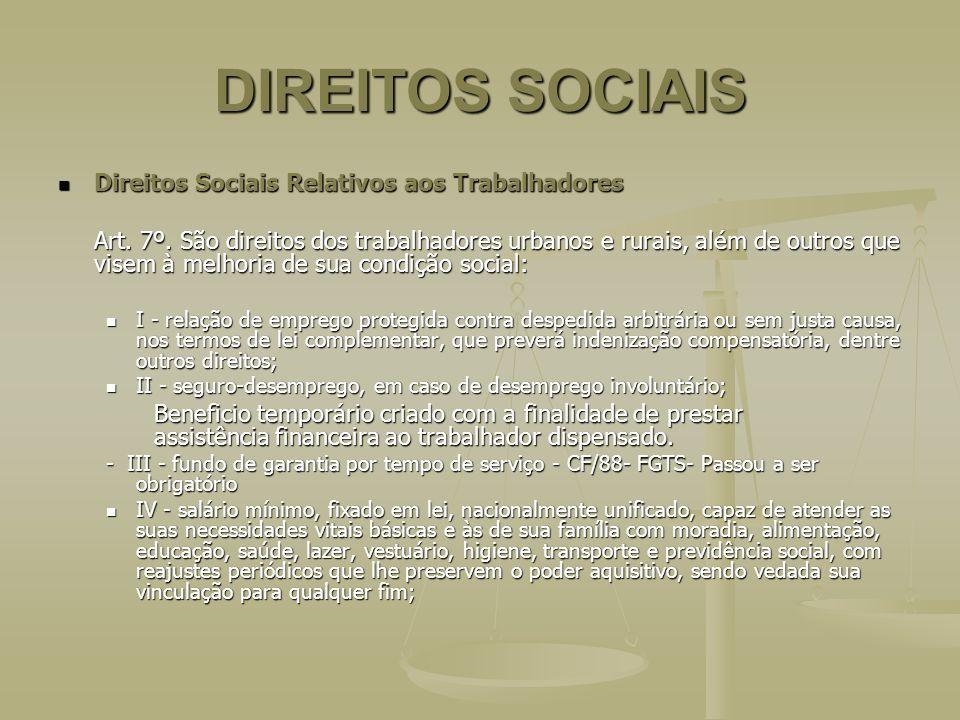 DIREITOS SOCIAIS Direitos Sociais Relativos aos Trabalhadores