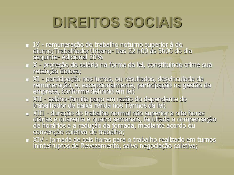 DIREITOS SOCIAIS IX - remuneração do trabalho noturno superior à do diurno;Trabalhador Urbano- Das 22 h00 ás 5h00 do dia seguinte- Adicional 20%