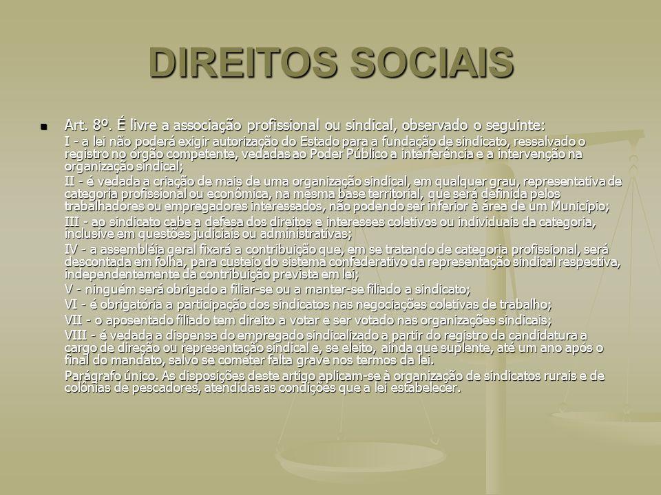 DIREITOS SOCIAIS Art. 8º. É livre a associação profissional ou sindical, observado o seguinte: