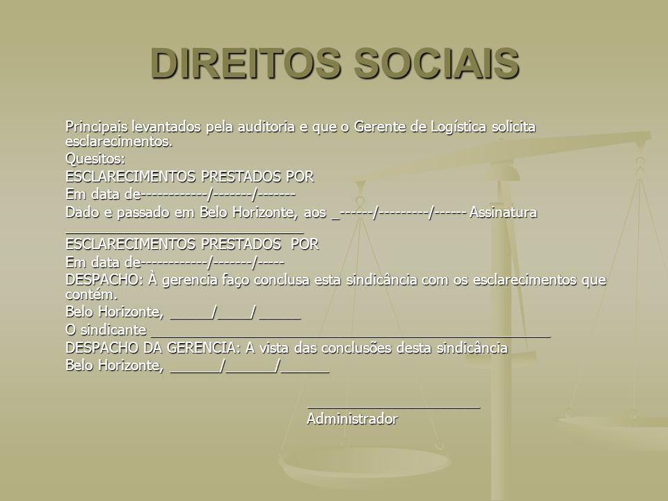 DIREITOS SOCIAIS Principais levantados pela auditoria e que o Gerente de Logística solicita esclarecimentos.