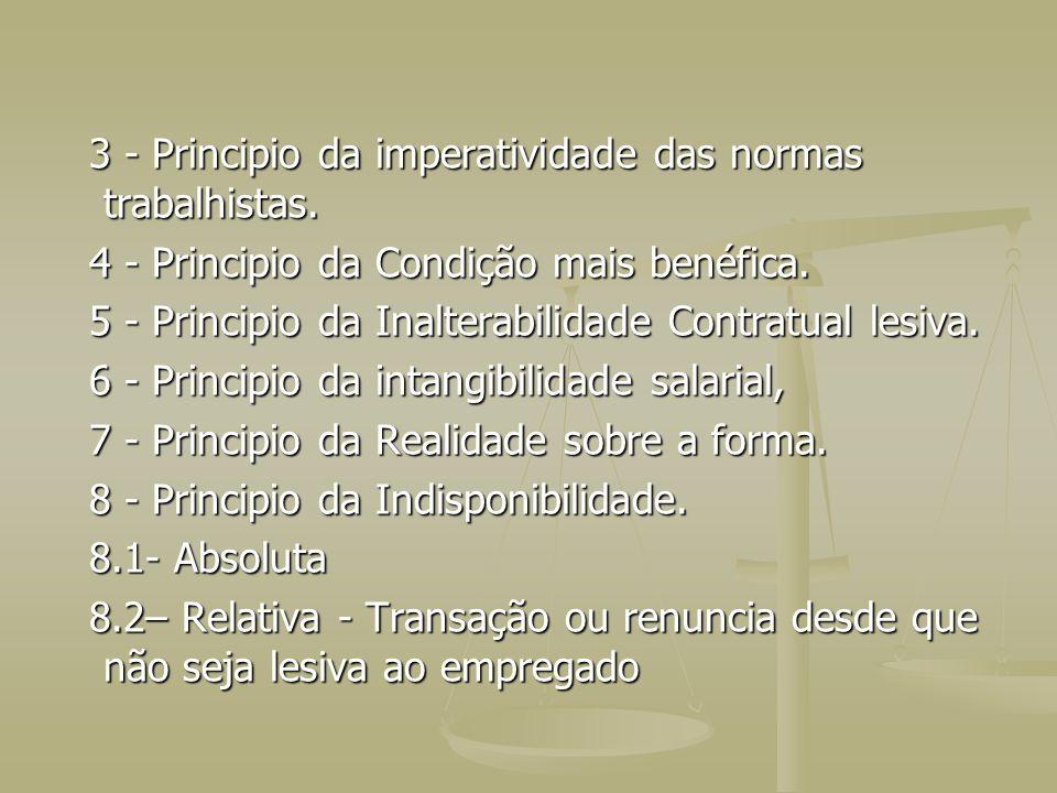 3 - Principio da imperatividade das normas trabalhistas.