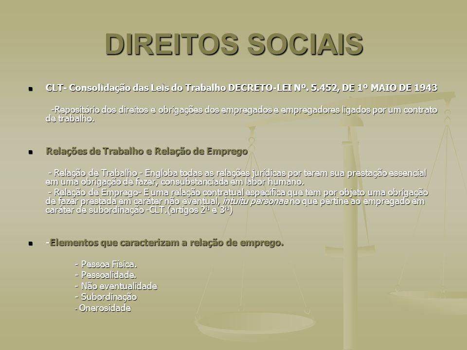 DIREITOS SOCIAIS CLT- Consolidação das Leis do Trabalho DECRETO-LEI Nº. 5.452, DE 1º MAIO DE 1943.